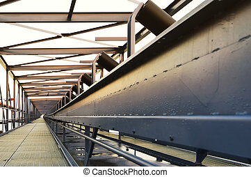 Conveyor bridge used to transport coal from ship to power...
