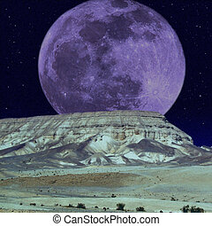 Moonlight melancholy - Moonrise over the mountains on starry...