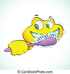 Smiley Face with Toothbrush - illustration of smiley face...