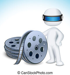 3d Man with Film Reel - illustration of 3d man in vector...