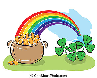 St. Patrick Day pot with coins, rainbow and shamrocks....