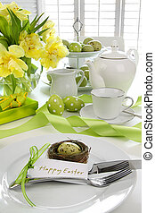 Place setting with card for easter brunch - Place setting...
