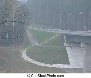 car cross river bridge
