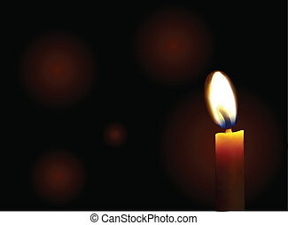 Candle on a black background - Burning candle on a black...