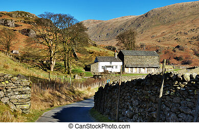 Remote Farm Buidlings, English Lake District - View down a...