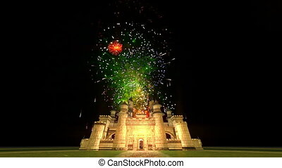 castle and fireworks