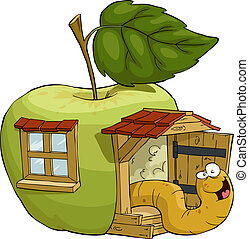 Apple house - The worm in the apple house, vector...