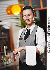 Waitress girl of commercial restaurant
