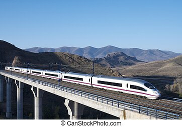 high-speed train - view of a high-speed train crossing a...