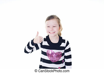 thumbs up - young girl giving a thumbs up sign isolated on...