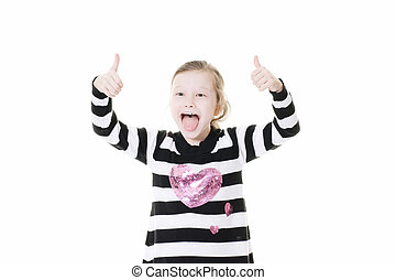 young girl giving a thumbs up sign