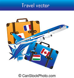 travel vector - plane and suitcase isolated over white...