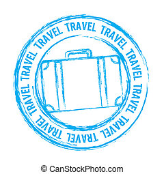 travel vector - blue travel stamp isolated over white...