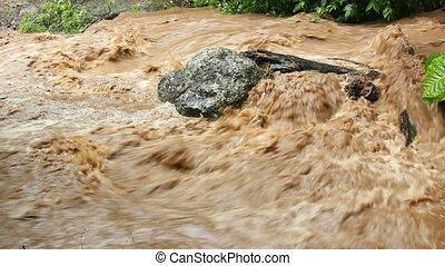 Very severe flash flood - Mud and water rushing down a...