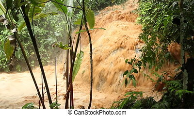 Very severe flash flood - Mud and water pouring down a...