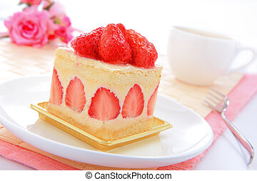 sweet cake with strawberry at tea time - Dessert - sweet...