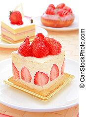 dulce, pastel, fresa, té, tiempo