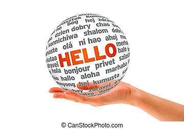 Hand holding a Hello 3D Sphere sign on white background.