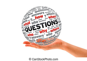 Hand holding a Questions 3D Sphere sign on white background.
