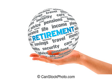 Hand holding a Retirement 3D Sphere on white background
