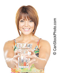 beautiful woman with glass of water - picture of beautiful...