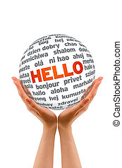 Hands holding a Hello 3D Sphere sign on white background.