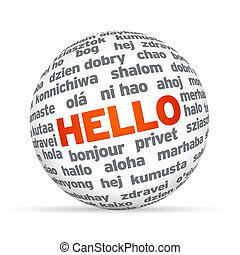 Hello in different languages - 3d Sphere with Hello in...