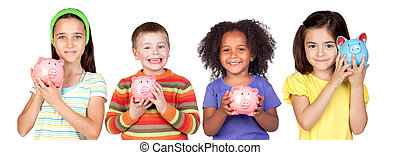 Four happy children with moneybox savings isolated over...