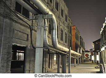 pipe line in night scenecc - Pipe line in night scene