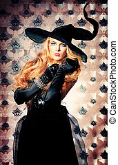 traditional - Charming halloween witch over vintage...