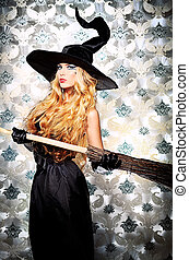 witch broom - Charming halloween witch with broom over...