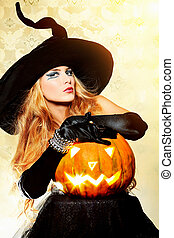 mystical - Charming halloween witch over vintage background.