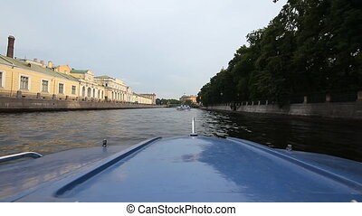 walking on a boat in St. Petersburg