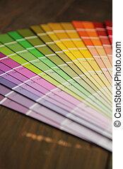 Color palette - Close up of a different color palette on a...