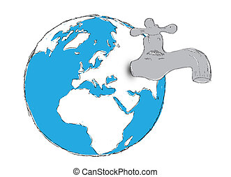 Water stocks on earth. Isolated