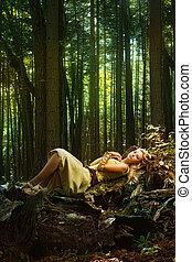 rubio, niña, magia, bosque