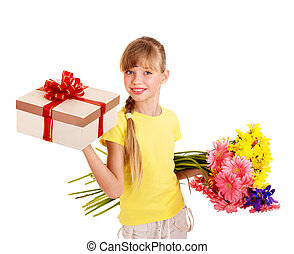 Child holding gift box and flowers.
