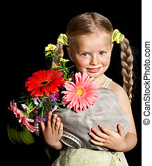Child with gas mask and flower. Concept