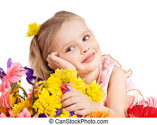 Happy child holding flowers - Happy little girl holding...