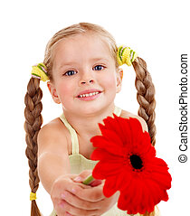 Child giving flower - Happy little girl giving flowers