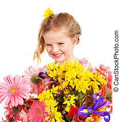 Happy child holding flowers.