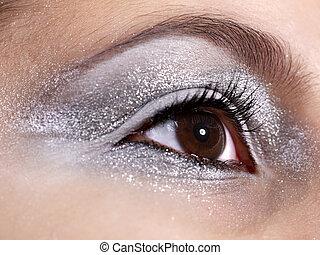 Eye makeup. Close up.