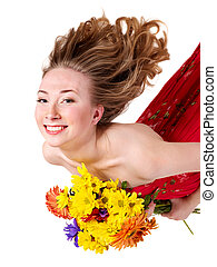Happy young woman holding flowers - Happy young woman...