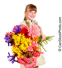 Happy child giving flowers. - Happy little girl giving bunch...