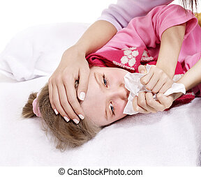 Sick child with handkerchief in bed. - Sick little girl with...