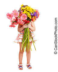 Child holding flowers - Little girl holding bunch of flowers...