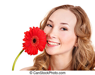 Happy young woman holding flower - Happy young woman holding...
