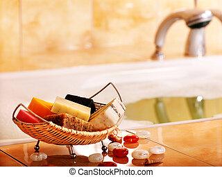 Bath still life with bar of soap. - Bath still life with bar...