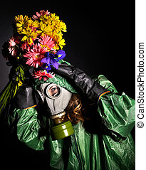Woman with gas mask and flow - Young woman with gas mask and...