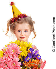 Child in party hat. - Little girl in party hat. Isolated.
